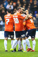 Danny Green of Luton Town (right) celebrates scoring the opening goal against Barnet as Luke Wilkinson of Luton Town (30) shows his delight during the Sky Bet League 2 match at Kenilworth Road, Luton<br /> Picture by David Horn/Focus Images Ltd +44 7545 970036<br /> 14/11/2015