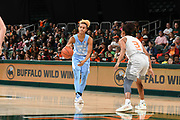 January 20, 2019: Paris Kea #22 of North Carolina in action during the NCAA basketball game between the Miami Hurricanes and the North Carolina Tar Heels in Coral Gables, Florida. The 'Canes defeated the Tar Heels 76-68.