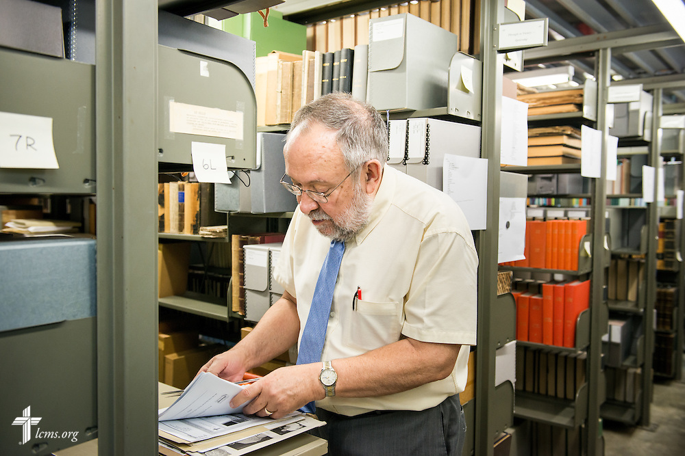 The Rev. Marvin A. Huggins, associate director for archives and library, shelves items Monday, July 21, 2014, at Concordia Historical Institute on the campus of Concordia Seminary in Clayton, Mo.  LCMS Communications/Erik M. Lunsford
