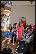 YINKA SHONIBAR WITH HIS  WORK , Royal Academy of Arts Summer Exhibition 2014. Piccadilly. London. 4 June 2014.