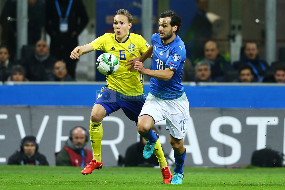 November 13, 2017 - Milan, Italy - FIFA World Cup Qualifiers play-off Switzerland v Northern Ireland.Ludwig Augustinsson of Sweden and Marco Parolo of Italy at San Siro Stadium in Milan, Italy on November 13, 2017..Photo Matteo Ciambelli / NurPhoto  (Credit Image: © Matteo Ciambelli/NurPhoto via ZUMA Press)