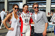 Dancing with the Stars contestants Derek Hough and Maria Menounos appear at the Indianapolis Motor Speedway for the Indy 500.