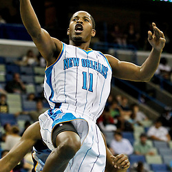December 21, 2011; New Orleans, LA, USA;New Orleans Hornets guard Jerome Dyson (11) shoots against the Memphis Grizzlies during a preseason game at the New Orleans Arena.   Mandatory Credit: Derick E. Hingle-US PRESSWIRE