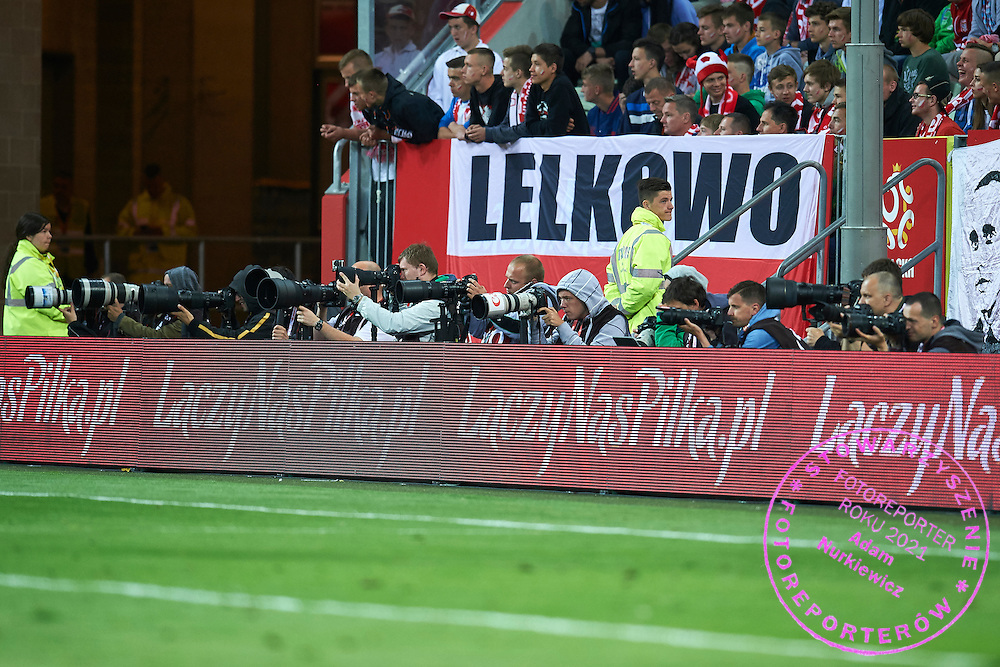 Photographers in action during international friendly soccer match between Poland and Greece at PGE Arena Stadium on June 16, 2015 in Gdansk, Poland.<br /> Poland, Gdansk, June 16, 2015<br /> <br /> Picture also available in RAW (NEF) or TIFF format on special request.<br /> <br /> For editorial use only. Any commercial or promotional use requires permission.<br /> <br /> Adam Nurkiewicz declares that he has no rights to the image of people at the photographs of his authorship.<br /> <br /> Mandatory credit:<br /> Photo by &copy; Adam Nurkiewicz / Mediasport