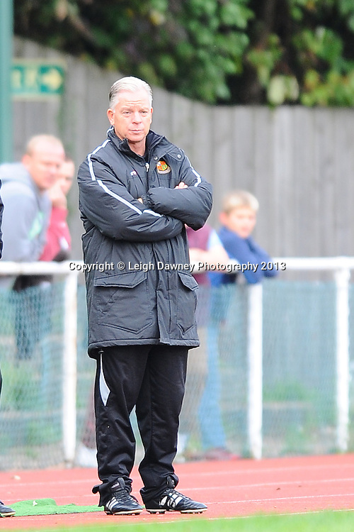 Gordon Bartlett Manager of Wealdstone looks on from the side line. AFC Hornchurch v Wealdstone at The Stadium, Bridge Avenue, Upminster, Essex. FA Cup 3rd Qualifying Round. 12th October 2013. © Leigh Dawney Photography 2013.