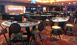 March 18,2020, Las Vegas, Nevada, USA: OYO hotel lobby empty as it closed down at 12am Wednesday morning for up to 30+ days due to COVID-19. (Credit Image: © Gene Blevins/ZUMA Wire)