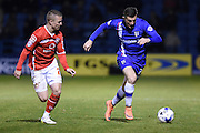 Walsall defender Jason Demetriou and Gillingham forward Brennan Dickinson during the Sky Bet League 1 match between Gillingham and Walsall at the MEMS Priestfield Stadium, Gillingham, England on 12 April 2016. Photo by Martin Cole.