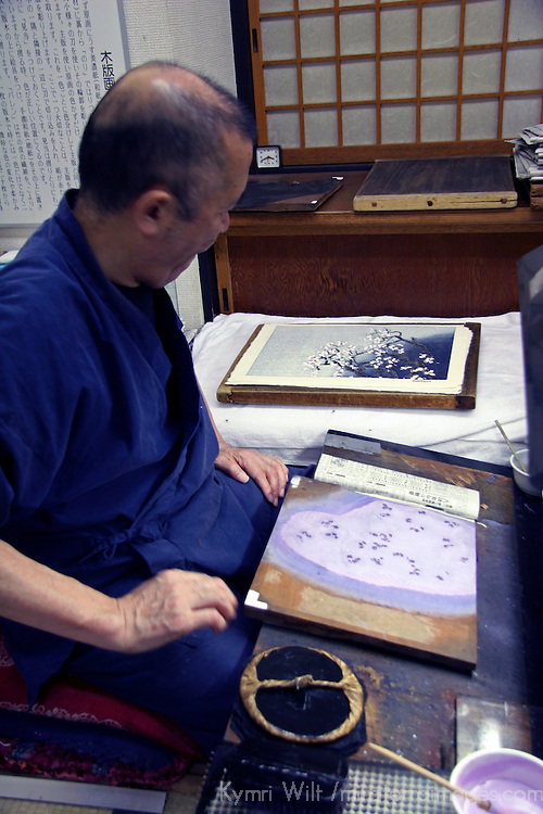 Asia, Japan, Kyoto. Japanese artist in his studio.