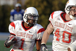 25 November 2006: Jesse Caesar gets protection from Cameron Siskowic after intercepting a Panther pass late in the 4th quarter.&#xD;The Redbirds romped the Panthers by a score of 24-13.&#xD;This game was a 1st round NCAA Division 1 Playoff held at O'Brien Stadium on the campus of Eastern Illinois University in Charleston Illinois.<br />