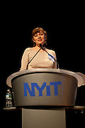 """Maria Aiolova, CoFounder, Terreform One leads a panel on The Blue Network (Water Transportation)"""" at the Manhattan Chamber of Commerce's Transportation Transformation Global Summit at NYIT in New York on April 26, 2012."""