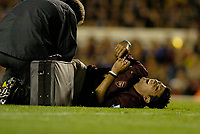 Photo: Leigh Quinnell.<br /> Arsenal v Fulham. The Barclays Premiership.<br /> 24/08/2005. Jose Antonio Reyes is treated for a leg injury.