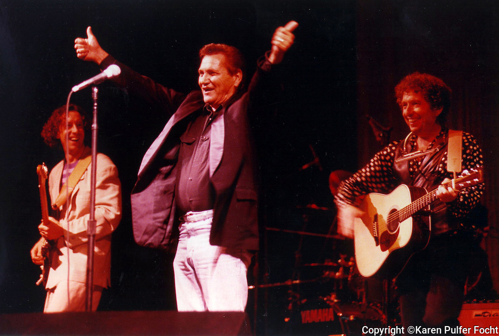 "Rockabilly Sun Studio veteran Billy Lee Riley (center) was in vited by Bob Dylan (right) to perform in Dylan's concert in Little Rock in September 1992. Dylan introduced Riley as ""my hero."" (By Karen Pulfer Focht / The Commercial Appeal) ran 9/20/92)"