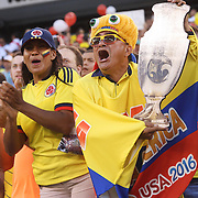 EAST RUTHERFORD, NEW JERSEY - JUNE 17:  Colombia fans in action during the Colombia Vs Peru Quarterfinal match of the Copa America Centenario USA 2016 Tournament at MetLife Stadium on June 17, 2016 in East Rutherford, New Jersey. (Photo by Tim Clayton/Corbis via Getty Images)