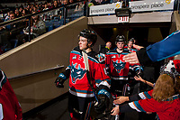 KELOWNA, CANADA - OCTOBER 28: Gordie Ballhorn #4 and Kole Lind #16 of the Kelowna Rockets enter the ice against the Prince George Cougars on October 28, 2017 at Prospera Place in Kelowna, British Columbia, Canada.  (Photo by Marissa Baecker/Shoot the Breeze)  *** Local Caption ***