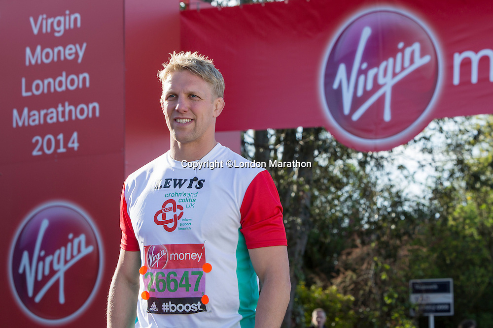 Lewis Moody in the celebrity area ahead of the Gren Start at The Virgin Money London Marathon 2014 on Sundy 13 April 2014<br /> Photo: Neil Turner/Virgin Money London Marathon<br /> media@london-marathon.co.uk