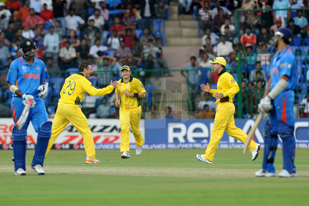 Ricky Ponting of Australia celebrate the wicket of Ashish Nehra during the World Cup warm up match between India and Australia (B) held at the M Chinnaswamy Stadium in Bengaluru, Bangalore, Karnataka, India on the 13 February 2011..Photo by Pal Pillai/BCCI/SPORTZPICS