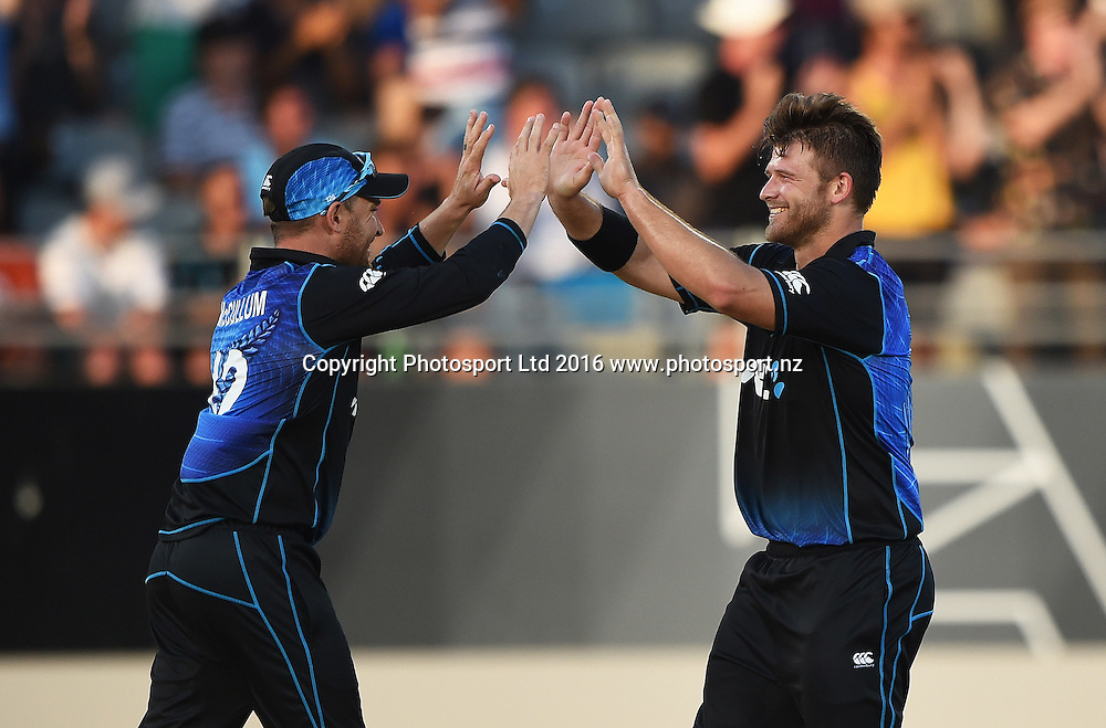 Brendon McCullum and Corey Anderson celebrate the wicket of Wade. New Zealand Black Caps v Australia, Chappell Hadlee Trophy and ANZ ODI Cricket Series. Eden Park, Auckland, New Zealand. Wednesday 3 February 2016. Copyright photo: Andrew Cornaga / www.photosport.nz