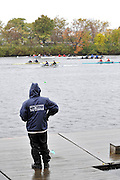 Cambridge, USA, Youth Doubles, passing the Riverside BC., during the  2009 Head of the Charles  Sunday  18/10/2009  [Mandatory Credit Peter Spurrier Intersport Images],.