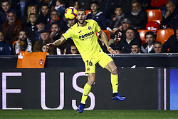 January 26, 2019 - Valencia, Spain - Alfonso Pedraza of Villarreal CF during  spanish La Liga match between Valencia CF vs Villarreal CF at Mestalla Stadium on Jaunary  26, 2019. (Credit Image: © Jose Miguel Fernandez/NurPhoto via ZUMA Press)