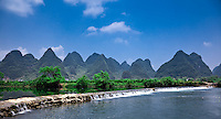 Weir crossing on the Dragon River near Yangshuo.