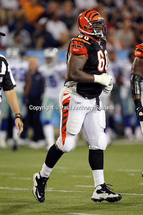 Cincinnati Bengals rookie guard Otis Hudson (60) jogs off the field during the NFL Pro Football Hall of Fame preseason football game between the Dallas Cowboys and the Cincinnati Bengals on Sunday, August 8, 2010 in Canton, Ohio. The Cowboys won the game 16-7. (©Paul Anthony Spinelli)