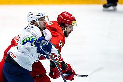 David Rodman of Slovenia vs Alexander Kitarov of Belarus during ice hockey match between Belarus and Slovenia at IIHF World Championship DIV. I Group A Kazakhstan 2019, on May 2, 2019 in Barys Arena, Nur-Sultan, Kazakhstan. Photo by Matic Klansek Velej / Sportida
