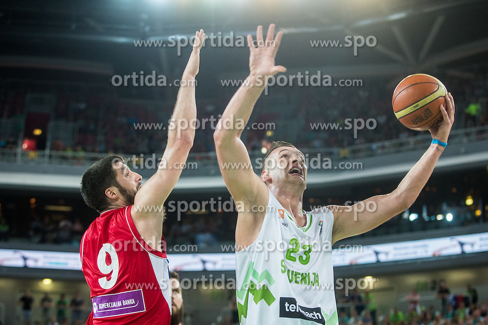 Alen Omic of Slovenia during friendly basketball match between National teams of Slovenia and Serbia in arena Stozice, on August 23 in Ljubljana, Slovenia. Photo by Grega Valancic / Sportida August 27, 2015