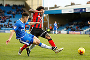 Gillingham FC midfielder Elliott List (21) gets a cross in to the box during the EFL Sky Bet League 1 match between Gillingham and Shrewsbury Town at the MEMS Priestfield Stadium, Gillingham, England on 28 January 2017. Photo by Andy Walter.