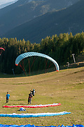 Paragliding from the summit of Elfer mountain down to Neustift im Stubaital, Tyrol, Austria