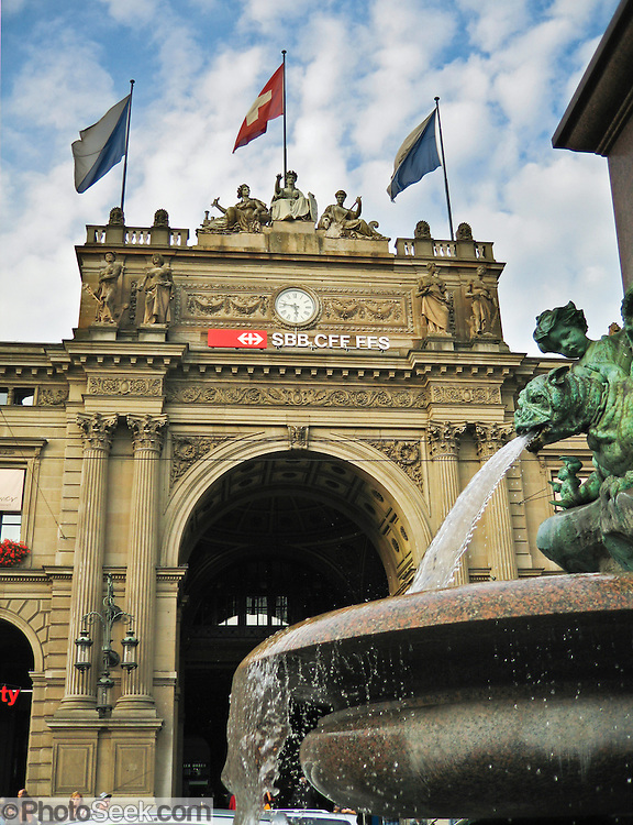 A fountain flows at the main train station in Zurich (Zürich, or Züri), the largest city in Switzerland.