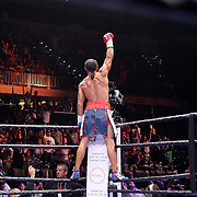 Keith Thurman celebrates his victory over Luis Collazo after the Premier Boxing Champions boxing match for the WBA Welterweight title on ESPN at the USF Sun Dome, on Saturday, July 11, 2015 in Tampa, Florida.  Thurman won the bout when the corner of Collazo stopped the fight at the beginning of the eighth round. (AP Photo/Alex Menendez)