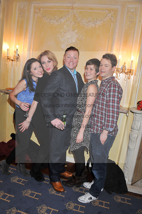 Left to right, Rhona Croker, Kelly Price, Rufus Hound, Amy Cudden and Sam Alexander at an after show party following the cast change from 'One Man, Two Guvnors' held at the Theatre Royal Haymarket, London on 12th February 2013.