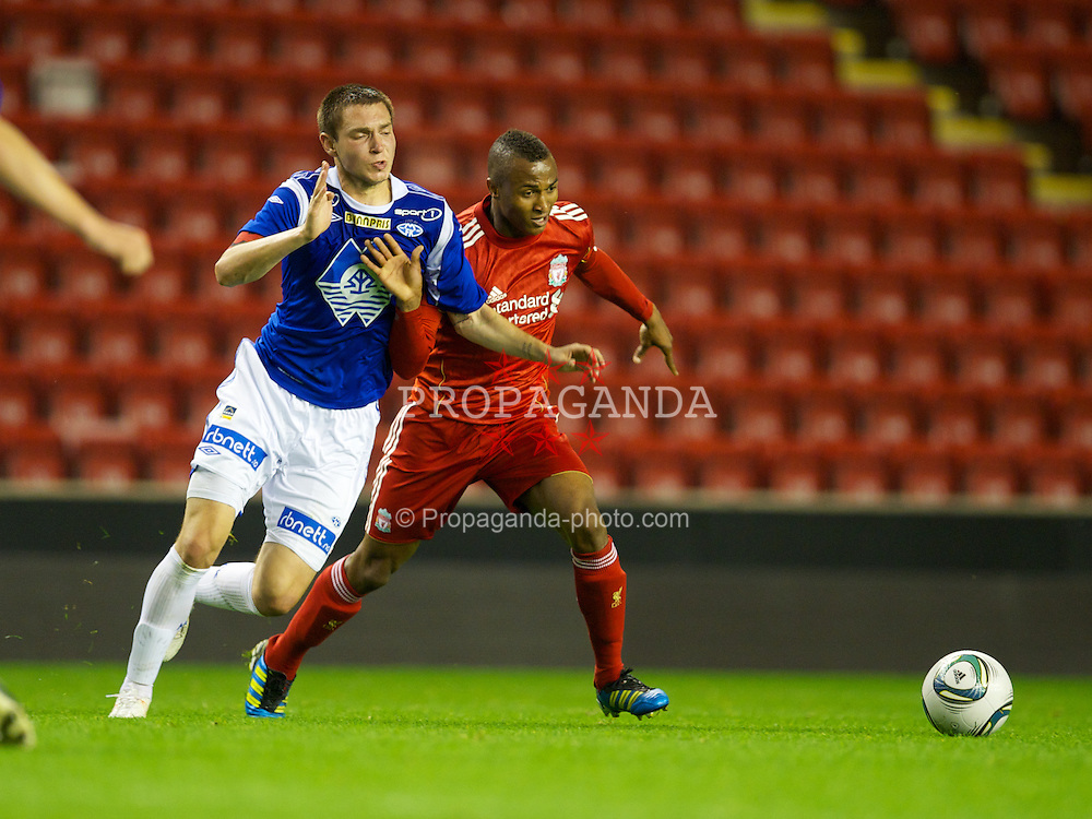 LIVERPOOL, ENGLAND - Thursday, September 29, 2011: Liverpool's Toni Brito De Silva and Molde FK's captain Sean Cunningham during the NextGen Series Group 2 match at Anfield. (Pic by David Rawcliffe/Propaganda)
