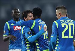 February 21, 2019 - Rome, Italy - SSC Napoli v FC Zurich - UEFA Europa League Round of 32.Simone Verdi of Napoli celebrates with the teammates at San Paolo Stadium in Naples, Italy on February 21, 2019. (Credit Image: © Matteo Ciambelli/NurPhoto via ZUMA Press)
