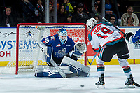 KELOWNA, CANADA - FEBRUARY 12:  Dillon Dube #19 of the Kelowna Rockets takes a shot on Griffen Outhouse #30 of the Victoria Royals during first period on February 12, 2018 at Prospera Place in Kelowna, British Columbia, Canada.  (Photo by Marissa Baecker/Shoot the Breeze)  *** Local Caption ***