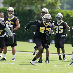08 May 2009: Saints first round draft selection Malcom Jenkins (27) aacornerback/safety from Ohio State and safety Chip Vaughn (37) a fourth round selection from Wake Forest participate in drills during the New Orleans Saints  rookie minicamp held at the team's practice facility in Metairie, Louisiana.
