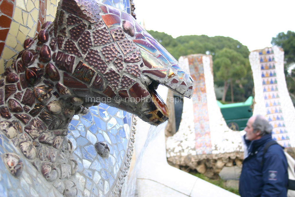 Decorative animal mosaic by Antonio Gaudí in Park Güell, Barcelona, Spain<br />