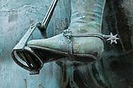 Details of Equestrian, statue; Cosimo; Piazza della Signoria, Florence, Italy