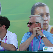 Raymond Moore, CEO of the BNP Paribas Open, participates in the ATP draw ceremony at the Indian Wells Tennis Garden in Indian Wells, California Tuesday, March 10, 2015.<br /> (Photo by Billie Weiss/BNP Paribas Open)