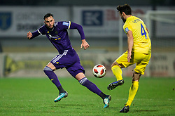 Amir Dervisevic of NK Maribor vs Amedej Vetrih of NK Domzale during football match between NK Domzale and NK Maribior in 18th Round of Prva liga Telekom Slovenije 2018/19, on November 11, 2018 in Sportni Park, Domzale, Slovenia. Photo by Vid Ponikvar / Sportida