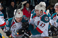 KELOWNA, CANADA - JANUARY 7: Leif Mattson #28 and Rodney Southam #17 of the Kelowna Rockets celebrate the shoot out win against the Kamloops Blazers on January 7, 2017 at Prospera Place in Kelowna, British Columbia, Canada.  (Photo by Marissa Baecker/Shoot the Breeze)  *** Local Caption ***