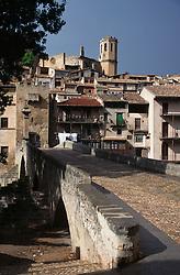 Bridge and buildings in Valderobbres; Maestrazgo; Teruel; Spain,