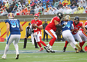 Jan 27, 2019; Orlando, FL, USA; AFC quarterback Patrick Mahomes of the Kansas City Chiefs (15) attempts to throw a pass in the NFL Pro Bowl football game at Camping World Stadium.  The AFC beat the NFC 26-7. (Steve Jacobson/Image of Sport)