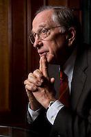 """2008, BERLIN/GERMANY:<br /> Samuel Augustus """"Sam"""" Nunn, US-amerikanischer Geschäftsmann und Politiker der Demokraten, ehem. Senator im US-Senat, waehrend einem Interview, Hotel Adlon<br /> IMAGE: 20080612-01-015"""