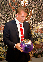 ADELAIDE, AUSTRALIA - Sunday, July 19, 2015: Liverpool's manager Brendan Rodgers and Managing Director Ian Ayre is presented with a football designed by Aboriginal artist Jacob Stengle during a visit to the Art Gallery of South Australia ahead of a preseason friendly match against Adelaide United on day seven of the club's preseason tour. (Pic by David Rawcliffe/Propaganda)