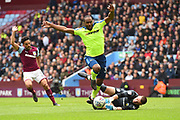 Aston Villa goalkeeper Sam Johnstone (1) saves an attempt at goal by Derby County forward Cameron Jerome (32) during the EFL Sky Bet Championship match between Aston Villa and Derby County at Villa Park, Birmingham, England on 28 April 2018. Picture by Jon Hobley.