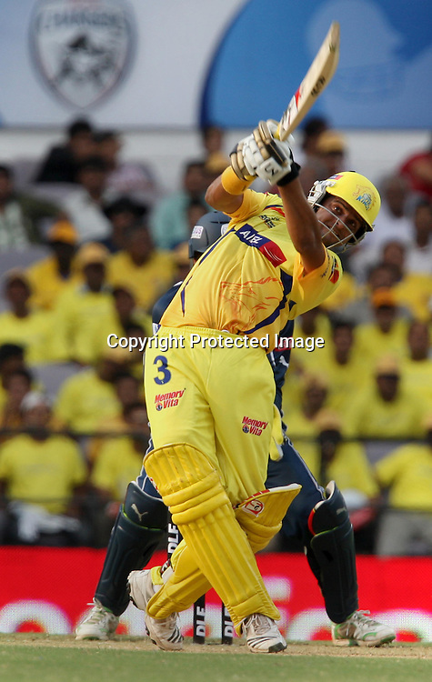 Chennai Super Kings Batsman Suresh Raina Hit The Shot Against Deccan Chargers  During The Indian Premier League - 42nd match Twenty20 match  2009/10 season Played at Vidarbha Cricket Association Stadium, Jamtha, Nagpur 10 April 2010 - day/night (20-over match)