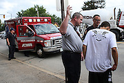 EMS officer/firefighter paramedic Chris Hickey at the Manchester Fire Department in Manchester, NH Wednesday, Aug. 10, 2016. <br /> To help combat Manchester, New Hampshire's huge drug problem, anyone can walk into the main fire station seeking help, they'll get connected with a drug counselor and services. Something like 230 people have shown up in the first couple months and it's quickly spawning copy-cat programs.  <br />    (Cheryl Senter for The Wall Street Journal)