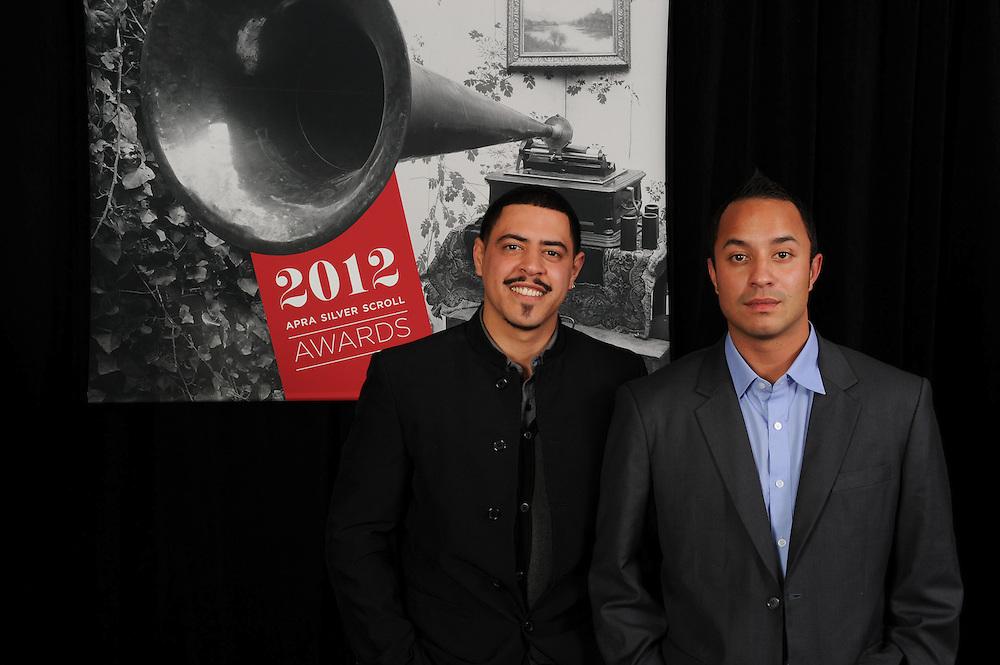 David Atai and Te Awanui Reeder, finalists of the APRA Maioha Award, at the APRA Silver Scrolls Awards 2012. Auckland Town Hall. 13 September 2012.