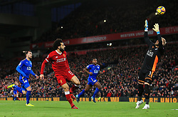 Mohamed Salah of Liverpool chips the ball over Kasper Schmeichel of Leicester City - Mandatory by-line: Matt McNulty/JMP - 30/12/2017 - FOOTBALL - Anfield - Liverpool, England - Liverpool v Leicester City - Premier League